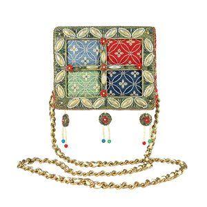MARY FRANCES Four Square Brocade Beaded Tassel Bag